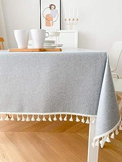 LMWB Bordsskydd, bordsduk, vattentät och oljesäker bomull och linne soffbord bordsduk tofs bordsduk -L_90 x 90 cm