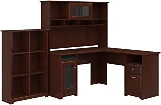 Bush Furniture Cabot L Shaped Desk with Hutch and 6 Cube Organizer in Harvest Cherry