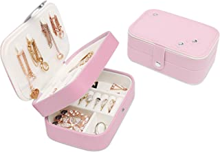 LAVIEVERT Small Travel Jewelry Box Organizer Display Storage Case for Rings Earrings Necklace - Pink