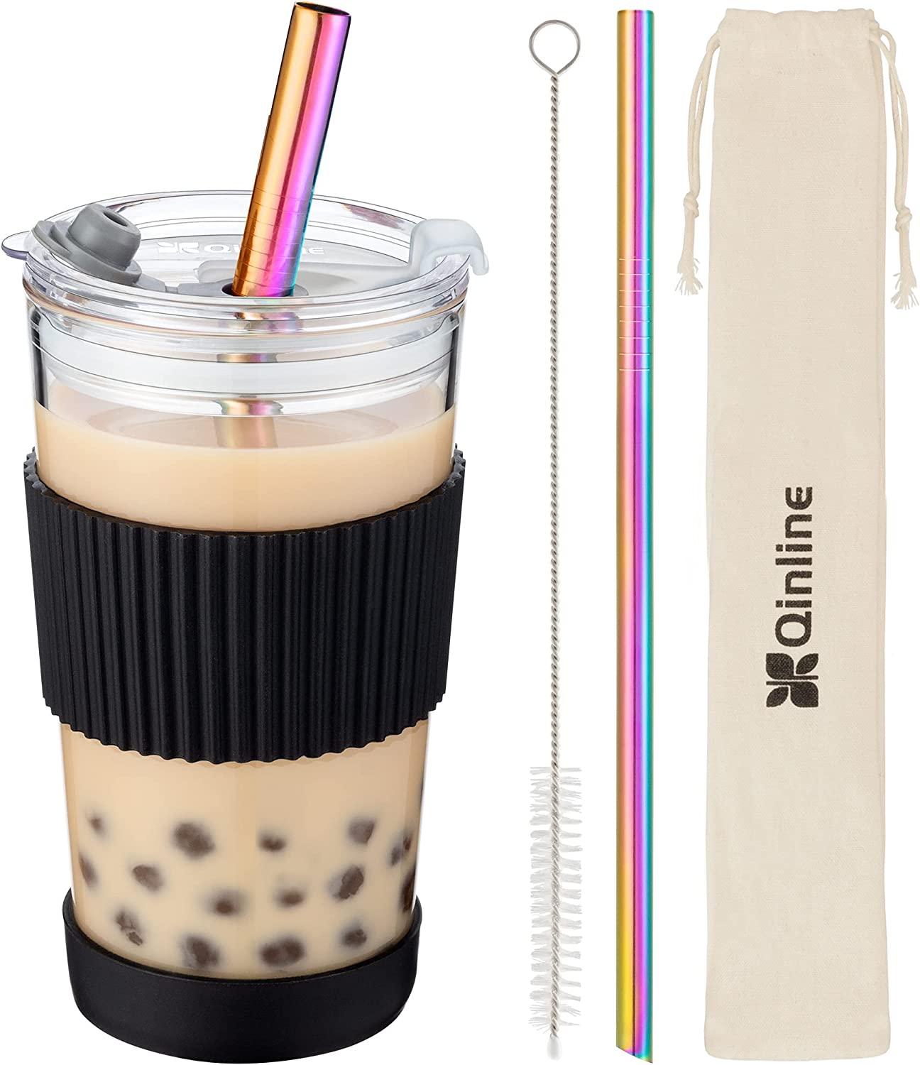 Boba Cup Reusable Bubble Beauty products Some reservation Tea Smoothie Cups 18Oz Glass