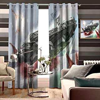 Star Wars The Last Jedi Millennium Falcon Crait Curtain Panels Grommets Decoration, for Hall/Parlor/Guest Suite W96 xH84