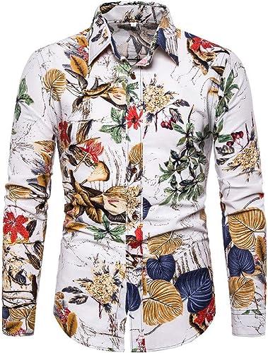 CHZDCS Shirt Hommes Shirt Floral Slim Fit Hommes été Affaires Leisure impression Long-Sleeved Top chemisier