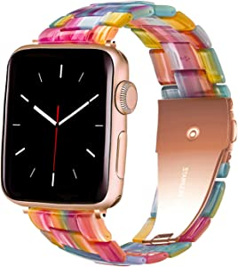 HomGoodz Rainbow Band Compatible with Apple Watch Band 40mm Series 4 Colorful Resin Wristband Bracelet Replacement for iWatch Bands 38mm Series 6/5/4/3/2/1 SE