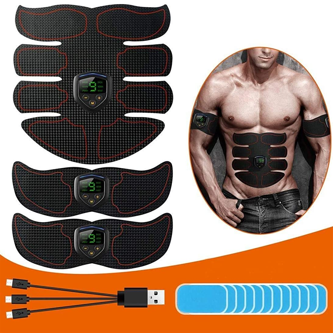 水曜日有効化珍しい筋肉刺激装置 ABSトレーナー EMSマッスルトナー、 Ab インテリジェント トーニングベルト、 USB充電 液晶ディスプレイ、 腹部/腕/脚 筋肉 ジムの設備 にとって 女性と男性、 12個の交換用ゲルパッド