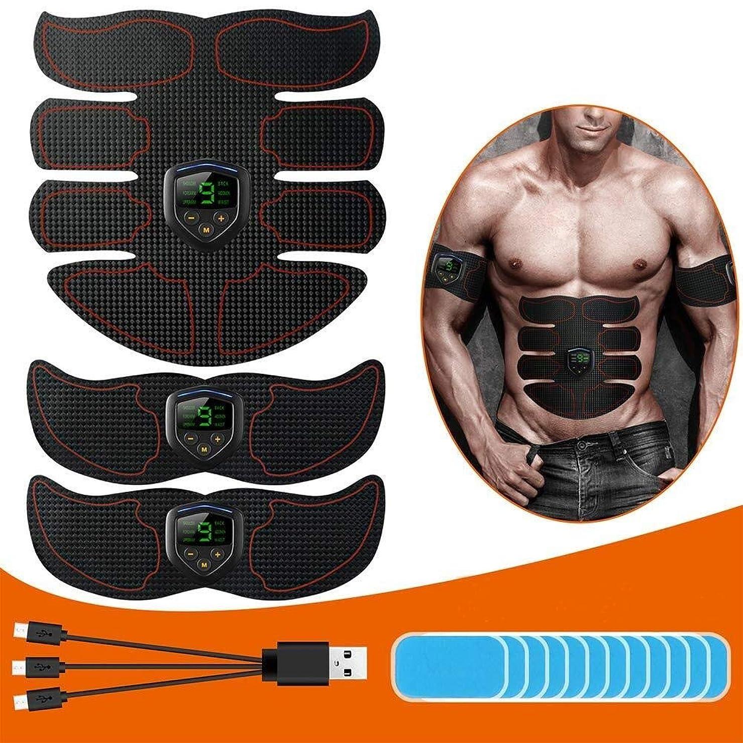 アクティブグリット準備する筋肉刺激装置 ABSトレーナー EMSマッスルトナー、 Ab インテリジェント トーニングベルト、 USB充電 液晶ディスプレイ、 腹部/腕/脚 筋肉 ジムの設備 にとって 女性と男性、 12個の交換用ゲルパッド