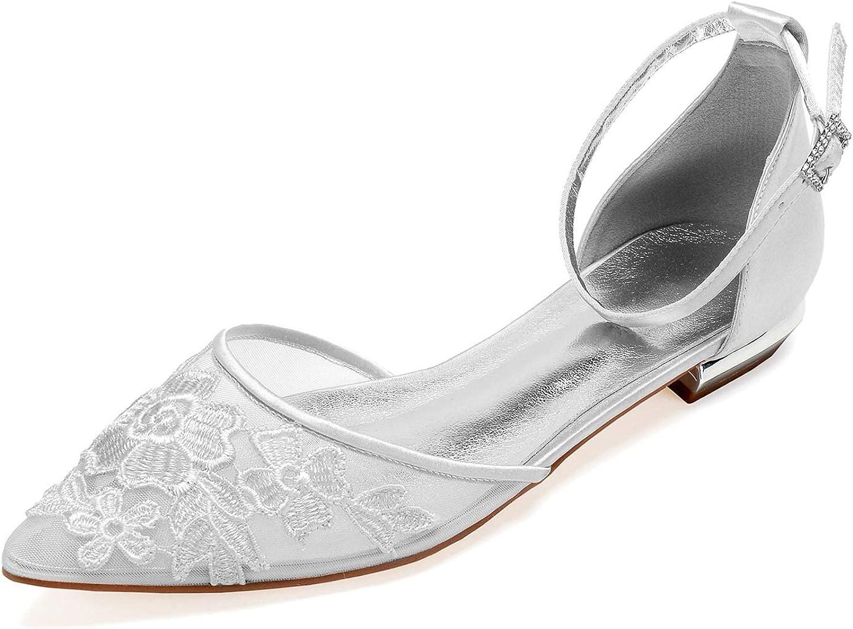 Elobaby Frauen Hochzeitsschuhe Satin Blaume Schnalle Spitze Sommer Sandale Party & Abend Flache Komfort Mode   1,8 cm Ferse    Reparieren