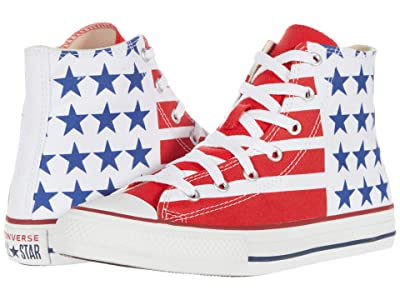 Converse Kids Chuck Taylor(r) All Star(r) Bars and Stripes Hi (Little Kid/Big Kid) (White/Red/Navy) Kid