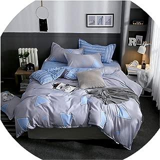 Clayton M Bracewell Grey Plaids Love Heart 4Pcs Bed Cover Set Cartoon Duvet Cover Child Adult Bed Sheets and Pillowcases Comforter Bedding Set,2Tj-61001-007,Pillowcase 2Pcs