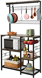 X-cosrack Kitchen Baker's Rack, 68inch Microwave Oven Stand with Pull-Out Wire Basket, 8 Hooks + 15 S Hooks,3 Tier + 4 Tie...