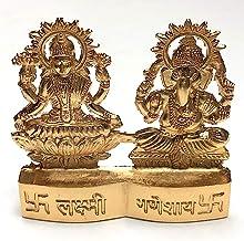 Sri laxmi Ganesh Idol, Sri Lakshmi Ganpati puja Figurine in Astadhatu (Mix of 8 Metals) Gold & Silver Polished murti - Ene...