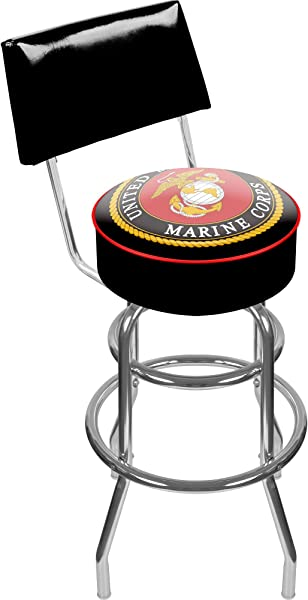 United States Marine Corps Padded Swivel Bar Stool With Back