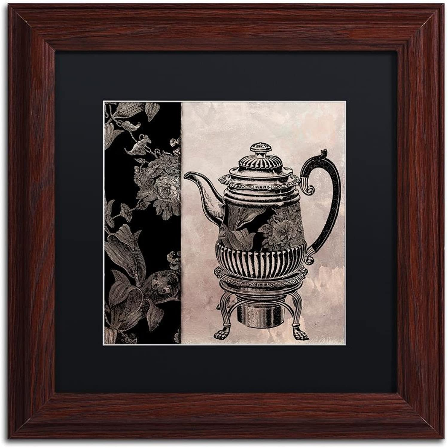 Trademark Fine Art Victorian Table III by color Bakery, Black Matte, Wood Frame 11x11, Wall Art