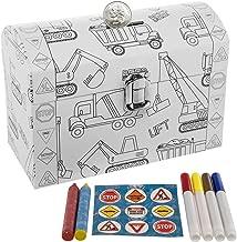 DG Treasures Tri-Coastal-Design Kid's Color Your Own Piggy Bank Personalized Coin Chest Trucks Art Supplies