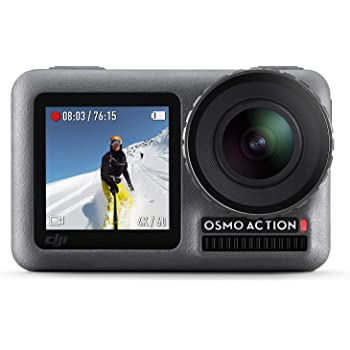 DJI Osmo Action - Digital Camera with 11 m Dual Screen, Water Resistant, 4K HDR-Video 12MP 145 Degree Angle Camera, Durable Lens Filter Cap, Abrasion and Dust-Resistant, Anti-Oil/Water Coating - Black