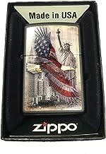 Zippo Custom Lighter - USA Eagle & Statue of Liberty - Black Matte