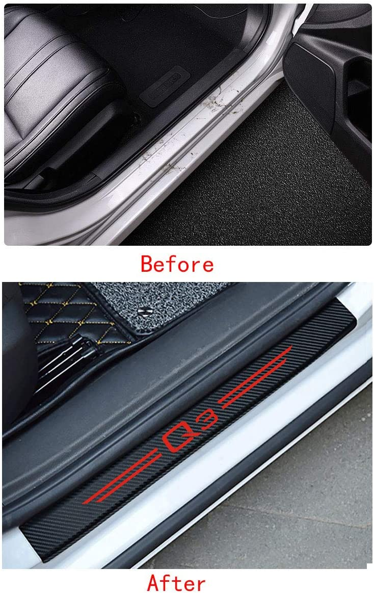 MAXDOOL 4Pcs Audi S line Door Sill Protector Reflective 4D Carbon Fiber Sticker Decoration Door Entry Guard Door Sill Scuff Plate Stickers for Audi A4 A3 Q5 Q3 S3 S4 S line Quattro RS7 A4-Red