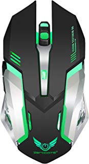 Wireless Mouse,Attoe Ergonomic 2.4G Wireless Mouse Noiseless Rechargeable Gaming Mouse 4 Adjustable DPI Optic Mouse with 7 Colors Breathing Light for PC Laptop Notebook Android Windows OS Mac (Black)