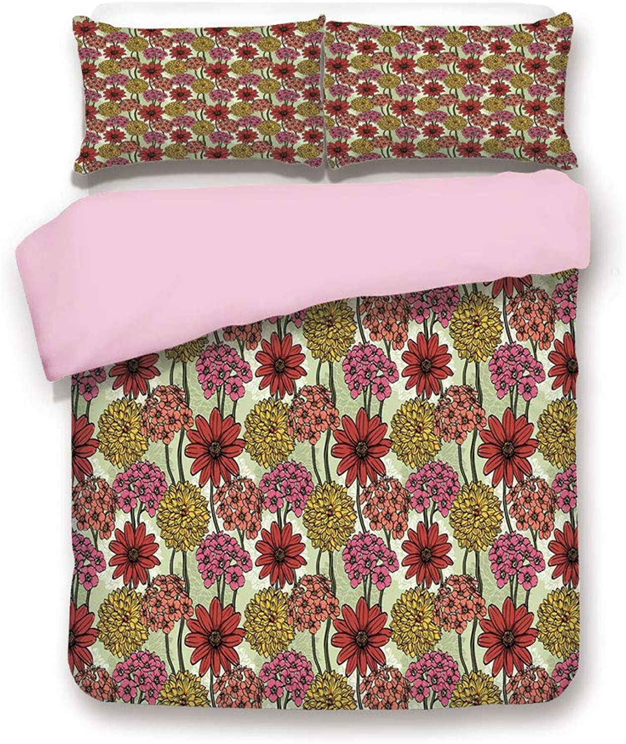 Pink Duvet Cover Set,Queen Size,Hand Drawn Magnetic colorful Various Bunch of Flower Growth Flourish Botanical Image,Decorative 3 Piece Bedding Set with 2 Pillow Sham,Best Gift For Girls Women,Multico