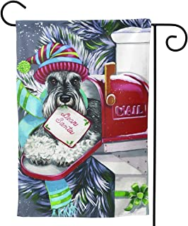 PIELAPA Schnauzer Mailbox Dog Cute Christmas Welcome Flag Outdoor Outside Holiday Party Decorations Ornament Home House Garden Yard Decor Double Sided 12.5 X 18 Small 28 X 40 Jumbo Large