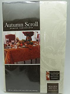 Autumn Scroll Damask Tablecloth (60 x 84 Inches, Ivory Color) Oblong