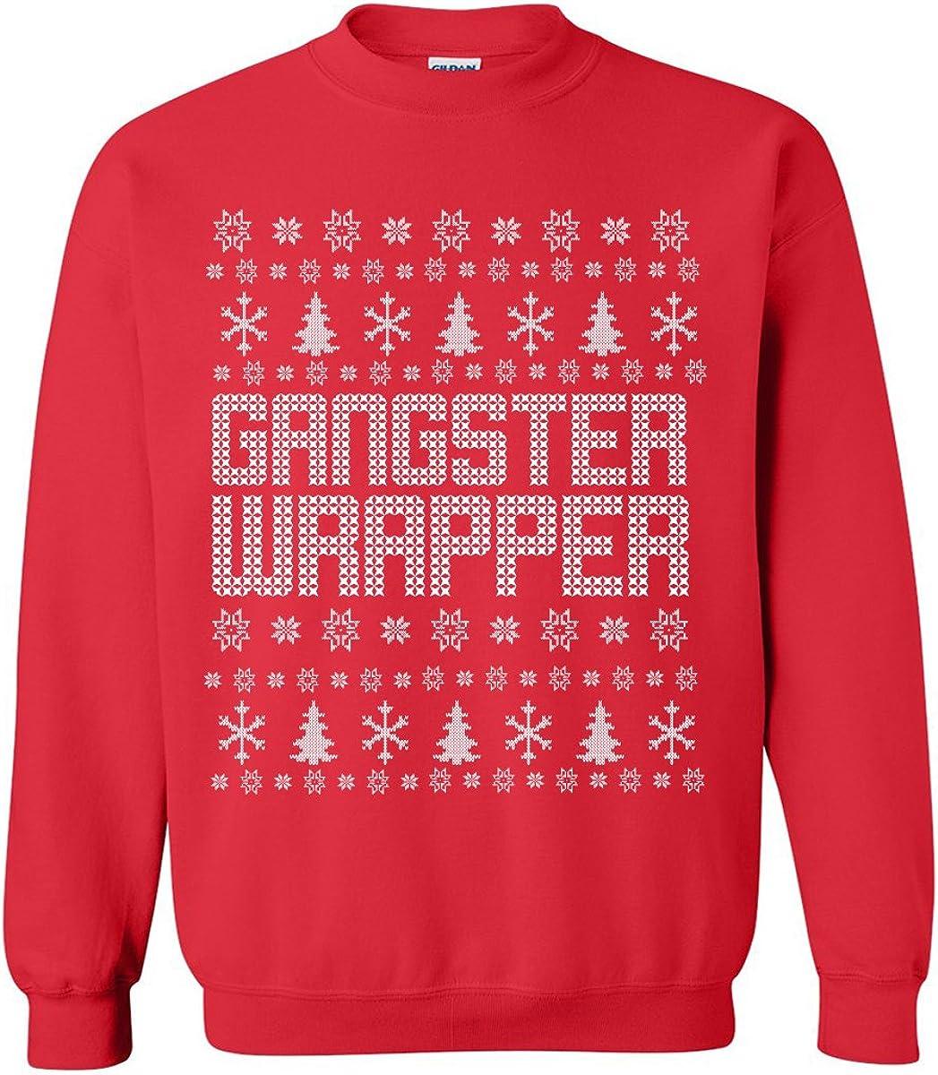 zerogravitee Gangster Wrapper Ugly Holiday Sweatshirt Crewneck Sweatshirt