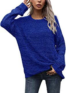 Sponsored Ad - Genayge Women's Loose Long Sleeve Knit Sweater Casual O-Neck Pullover Distressed Sweater Tops
