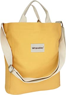 Wrapables Women's Canvas Tote Bag, Casual Cross Body Shoulder Handbag, Yellow, One Size
