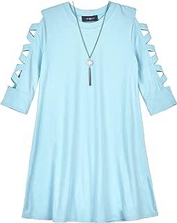 Amy Byer Girls' Big Lattice Sleeve Knit Dress with Necklace