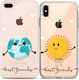Lex Altern Couple Case for iPhone 11 Pro Xs Max 10 X Xr 8 Plus 7 6s SE 5s Funny Cute Kawaii Best Friend Design Boyfriend Matching Sun TPU Protective Planets Relationship Earth Happy Print Clear