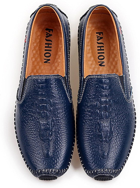 Huhuj Crocodile Fashion Men's shoes Lazy Men Leather Bean shoes Genuine Leather Soft Breathable Casual shoes