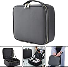 Blibly Travel Makeup Bag Portable Cosmetic Bag PU leather Train Case Professional Waterproof Brushes Toiletry Artist Storage Organizer with Adjustable Dividers for Women Black