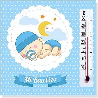 Detalles y Regalos de Bautizo Niño para invitados - Imanes con termómetro como Recuerdo de Bautizo - Bonitos y Originales - Pack 20 unidades - ¡Vuestros Amigos y Familiares Alucinarán!