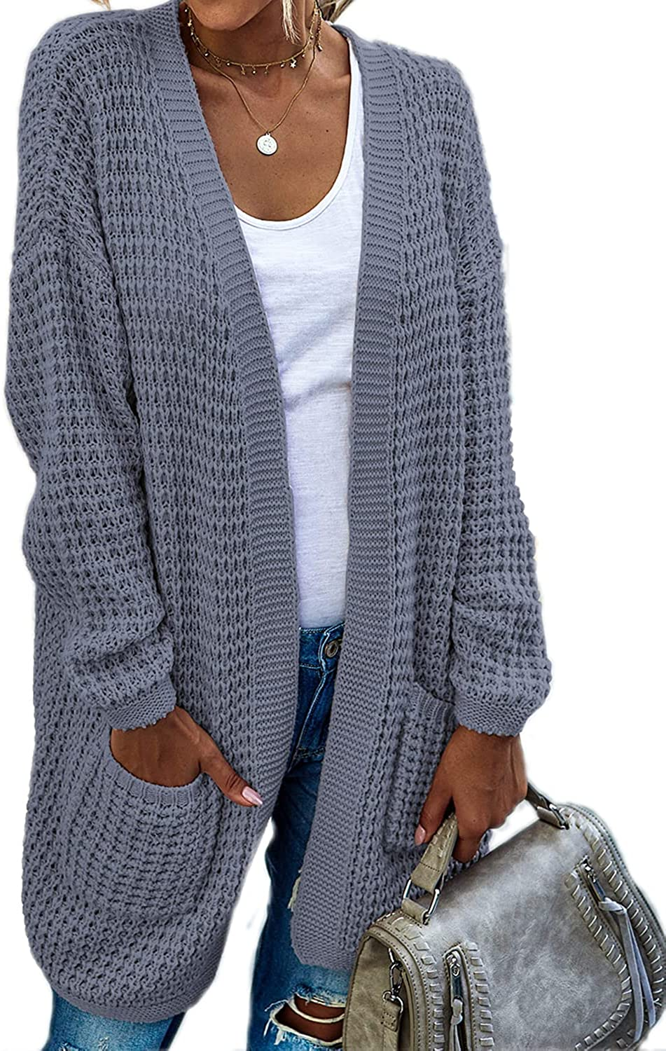 GIGILAUGH Women's Open Front Cardigan Long Batwing Sleeve Outwear Oversized Knit Sweaters with Pockets
