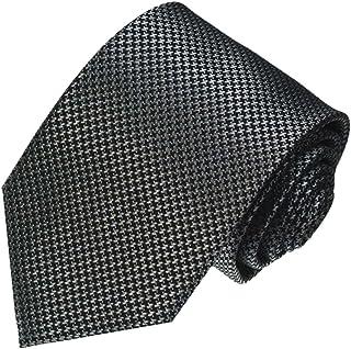 Lorenzo Cana - Original Marken Krawatte aus 100% Seide mit Hahnentritt Muster schwarz silber grau - 84474