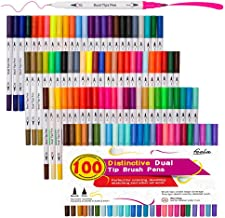 100 Colors Dual Tip Brush Pens with Fineliners Art Markers, Feela Watercolor Dual Brush Tip and Highlighters for Adult Coloring Books, Art, Sketching, Calligraphy, Manga, Bullet Journal