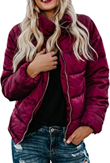 Womens Faux Fur Collar Zip Up Quilted Jacket Coat Outerwear(S-XXL)