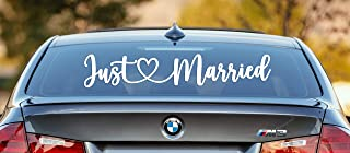تزئینات تزئینی Vinyl Decal 26X5 Just Married Car ، تزیینات عروسی متحرک ، ظریف به هر رویدادی ، دوش عروس ، پذیرایی عروسی کلیسا ، استراحت ماه عسل درخشش می بخشد