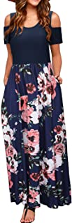 Women's Summer Cold Shoulder Floral Sundress Casual Long...