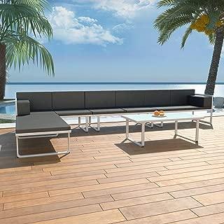 Amoui 5 Piece Garden Lounge Set Textilene Aluminium Black