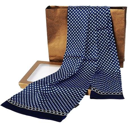 LONXU Fashion Mens 100% Silk Long Scarf/Cravat Scarives Double Layer