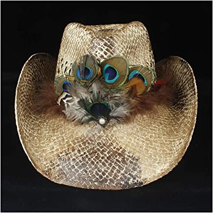 2019 Women Womens Summer Handmade Hat for Women Straw Western Cowboy Hat Lady Beach Feather Sombrero Hombre Straw Panama Cowgirl Jazz Sun Cap Ladies Fashion (Color : Coffee, Size : 56-58)
