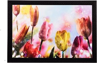 eCraftIndia 'Drops on Flowers' UV Art Painting (Synthetic Wood, 36 cm x 28 cm, Satin Matt Texture)