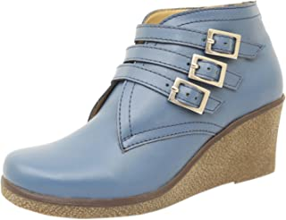 Athlego Women's Synthetic high Ankle Boot in Blue Color