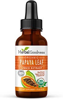 Papaya Leaf Liquid Extract Juice - Natural Blood Platelet Boost, Bone Marrow, Immune Gut, Digestive Enzyme - 100% Organic ...