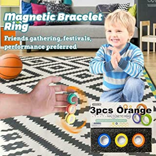 mkyulyp Fingears Magnetic Rings Anti-Stress Game Fidget, Magnetic Bracelet Ring Unzip Toy, Stress Relief Magnetic Finger Spinner Ring, Magic Ring Props- for Decompression