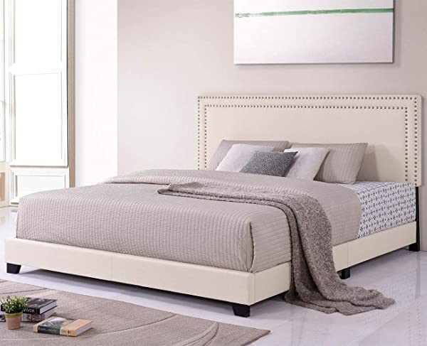 Platform Bed Milan Upholstered Platform Bed Frame With Wooden Slats And Nailhead Detail King