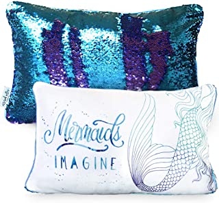 Mermaid Pillow - Toddler & Kids Pillow - Sequin Pillow for Girls - Mermaid Birthday Gift - Reversible Sequins (Cover Only)