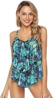 Traje de Baño en Dos Piezas Sexy Mujer Tankini Vest + Short de Baño Traje Conjunto de Bañador Swimsuit para el Mar, Playa, Piscina, Fiesta, Vacaciones