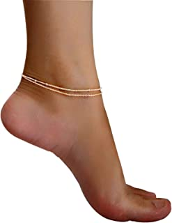COLROV Cute Layered Anklets Women 14k Gold Woman Charm Beaded Dainty Ankle Bracelet