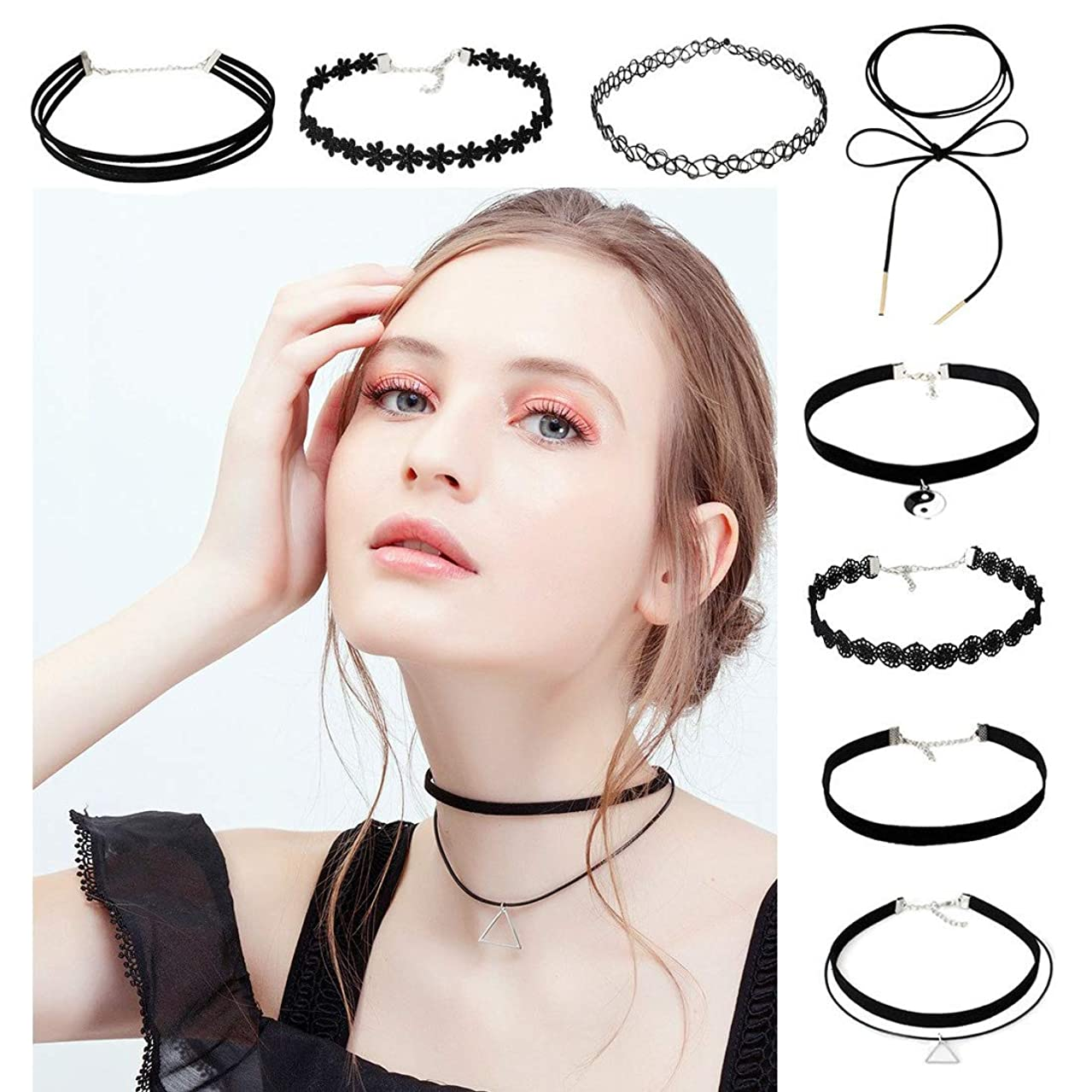 Elastic Lace Choker Necklace Black Fashionable Gothic Choker Necklace for Women and Girls, Pack of 8